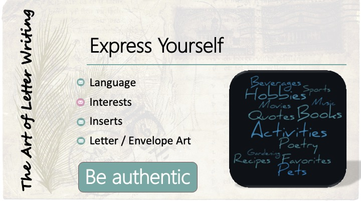 Express yourself: Interests: word bubble with different hobbies.