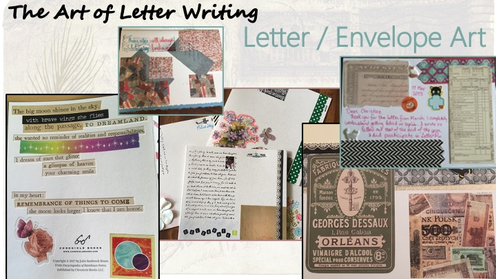 Letter / Envelope Art - images of hand decorated cards, and a poem made of phrase stickers on the back of a mass-market card.
