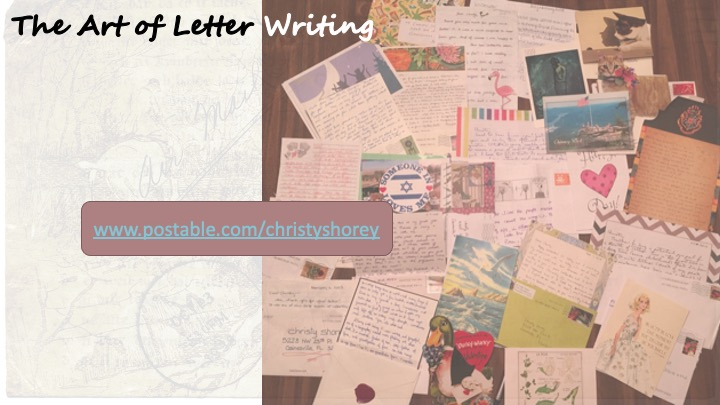 Image of letters, envelopes spread across a table; link - www.postable.com/christyshorey