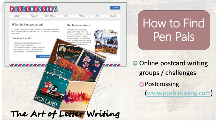 How to find pen pals: Online postcard writing groups / challenges - postcrossing (www.postcrossing.com); image of PostCrossing website, image of 5 postcards from various cities.