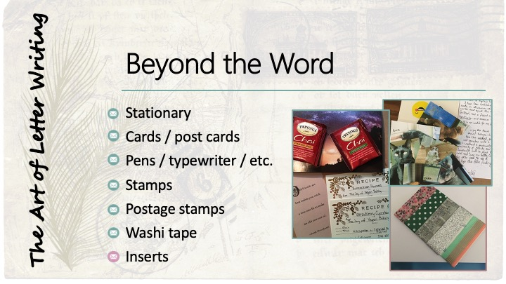 Beyond the Word: Inserts - image of two bags of tea, a recipe card, a quote card, photos of pets, and a gift card wrapped with washi tape.