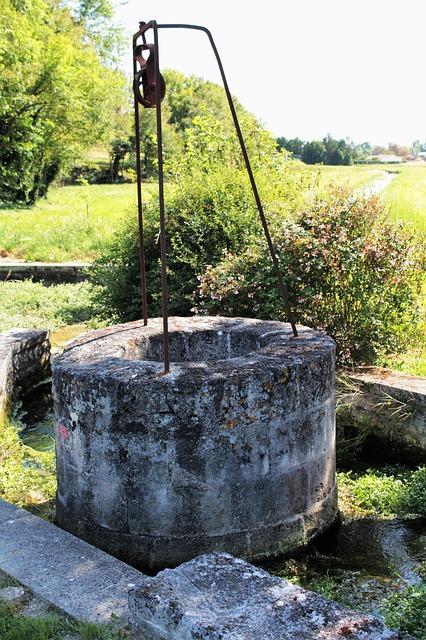 Stone well in green field